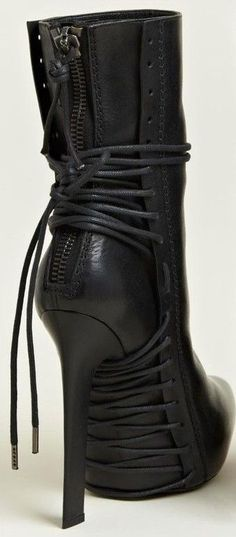 Black leather heeled boots, beautiful strings & things. Drool. HAIDER ACKERMAN