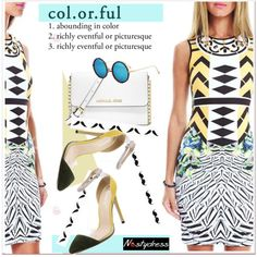colorful dress by paculi on Polyvore featuring moda and MICHAEL Michael Kors