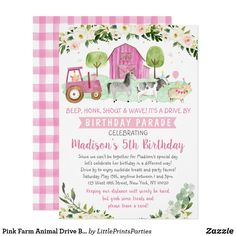 Pink Farm Animal Drive By Birthday Parade Invitation Farm Party Invitations, Baby Shower Invitations, Invites, Farm Animal Birthday, Farm Birthday, Baby Shower Fall, Floral Baby Shower, Unique Baby Shower Gifts, Baby In Pumpkin