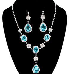 #77667-WCC/Rhinestone Tear Drop Necklace Earring Set-Silver/Aqua