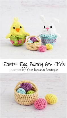 11 Adorable And Easy Easter Crochet Pattern Crochet Gifts, Easy Crochet, Crochet Baby, Free Crochet, Easter Crochet Patterns, Crochet Patterns For Beginners, Crochet Patterns Amigurumi, Easy Animals, Boyfriend Crafts