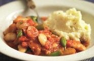 This is a warming, flavoursome and nutritious vegetarian stew. Serve with mashed potatoes, crushed new potatoes or cooked brown rice Vegetable Stew, Vegetable Puree, Chicken And Chickpea Curry, Vegetarian Stew, Bean Stew, Recipe Finder, Recipe Images, Casserole Dishes