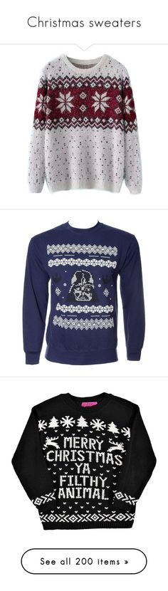Christmas sweaters by kristinamalik on Polyvore featuring Christmas sweaters, flakes, sayings, cats, hearts, ho ho, I like warm hugs, penguins, deer, Santa's My Homie, Merry Christmas Ya Filthy Animal (navy, white w/red hearts), naughty but nice, baby its cold outside, snowman, snow scene, it's snow time!, polar bears, ninja turtles, simpson's, How about snow?, owl, x-mas trees, star wars, robin, Dear Santa I Can Explain, But First Let Me Take An #Elfie, Deer/Presents/Ornaments, Merry Kiss…