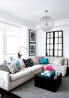 Black and white with a pop of blue! Fantasticly brilliant. (might use a light blue/ Tiffany's if I may :) )