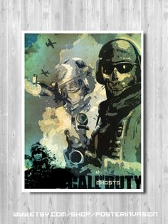 8.5x11 inches CLEARANCE SALE - Call Of Duty poster SIZE 50%,  Ghost, Minimalist poster, Game print, Call Of Duty game, Alternative poster, by PosterInvasion on Etsy