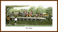 """""""The Picnic"""" print. A childs view of a carnival, """"The Masonic Picnic"""" that has been held for nearly 60 years in Mocksville, NC."""