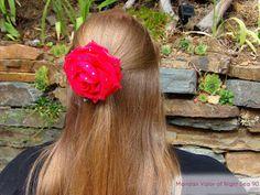 Blogger Maridan Valor sporting Raindrops on Roses hair clip made by Natasha De Vil.