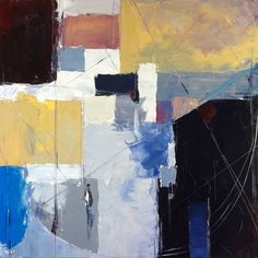 Buy Kelvin, a Oil on Canvas by Matthew Priest from United States. It portrays: Abstract, relevant to: pale, blue, white, yellow, contrast, cool, apricot, geometric, gray, grey **NOTE: This piece is committed to an exhibition and will not be available for shipping before June 1, 2017.**  I love the compositional challenge of square canvases. Created entirely with a painting knife (also called a palette knife), this piece uses a wide tonal range and sgraffito to bring life to an array of…