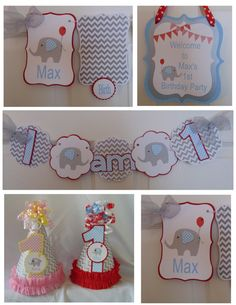 Elephant Birthday Petite Party Package by ASweetCelebration 1st Birthday Decorations, Birthday Ideas, Elephant Birthday, Boy First Birthday, First Birthdays, Party Package, Packaging, Baby Shower, Unique Jewelry