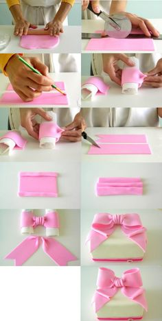How to make a fondant bow--.... ♥♥....  though I'd use modeling chocolate since I hate fondant :-p