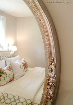 Gold mirror toned down with silver Rub-n-Buff. Tons of thrifty ideas for decorating bedrooms with secondhand items Furniture Makeover, Diy Furniture, Painted Furniture, Refurbished Furniture, Decorating Bedrooms, Bedroom Decor, Bedroom Ideas, Decorating Ideas, Wall Decor