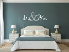 """#TopicOfTheWeek – Mr & Mrs Bedrooms Mr & Mrs signs for hanging over bed (or where ever you want) are so classic and make for a special space in your home. """"Mr & Mrs"""" wall signs are a stylish choice. This is a perfect home decor wall hanging gift for Newly wed's! If you are looking for the most creative, quality props that will be sure to impress your wedding guests, these awesome photo props & wedding decorations are for you! :) (Image copyrights belong to their respective owners)"""