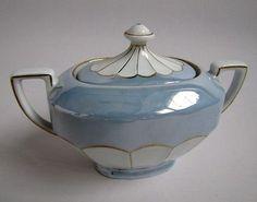 Service à Café Art Déco en Porcelaine Victoria Tasses Cafetière Sucrier Pot Lait
