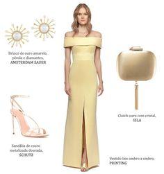 Look madrinha: vestido amarelo claro Printing + brincos de pérola e brilhantes Amsterdam Sauer + clutch Isla + sandália Schutz