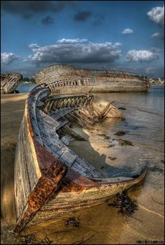 ♂ Aged with beauty old forgotten ship abandoned by the beach, old wooden boat, aged, weathered, water, clouds, water, sand, beach, beauty, photo