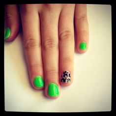 Lime leopard gel nails -- fun for girls