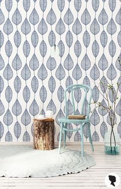 Stripy Leaf Wallpaper, Blue Botanical Design, Removable and Non Woven Taditional option - Peel n stick wallpaper - Decor, Leaf Wallpaper, Paradise Wallpaper, Home Wallpaper, Fabric Wallpaper, Home Decor, Removable Wallpaper, Geometric Wallpaper, Room Wallpaper