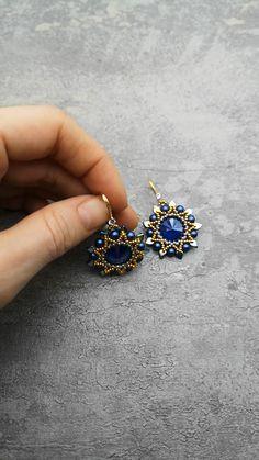 Bead Earrings, Crystal Earrings, Statement Earrings, Crystal Brooch, Beaded Brooch, Seed Bead Jewelry, Cute Jewelry, Earring Crafts, Bead Kits