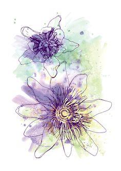 Purple Passion Flowers Fine Art Print, Colour Watercolour Digital Illustration Artwork Pen Linework Botanical Nature