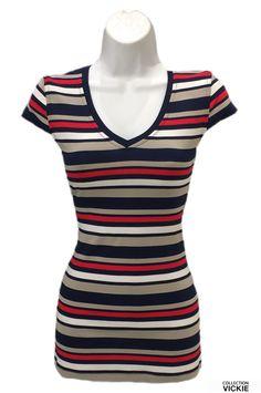 Nom du vêtement: SHERYL. VICKIE vous présente son t-shirt ligné....basic mais on en veut toutes un ! Portez-le avec votre jeans préféré...son tissu est tout doux, confortable et extensible. 95% rayonne 5% spandex. Produit entièrement en Beauce. Exclusivité VICKIE. Short Sleeve Dresses, Dresses With Sleeves, Spandex, Jeans, Collection, Fashion, Stretch Fabric, Fabric, Moda