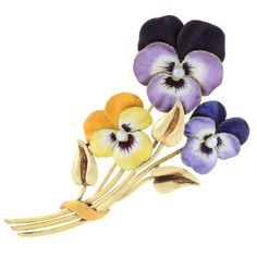 A gold, enamel and seed-pearl brooch in the form of pansies, 1900, H G Hedges; pansy = thoughts/think of me. (jewelry.1stdibs.com)