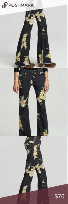 """Free People Floral Bali Flare in Miami Night Combo Wore these once! They were super long (and I'm short) and I was in a rush to go out so I enhanced the already raw hem by giving them an even more raw hem :) They could probably use a cleaner cut - or just leave them as is. They now have a 31"""" inseam. You're welcome. Free People Jeans Flare & Wide Leg"""