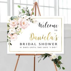 Shower Welcome Sign Bridal Shower Shower Welcome Blush Quinceanera Decorations, Bridal Decorations, Bridal Shower Welcome Sign, Welcome To Our Wedding, Cream Roses, Blush Roses, Pink Roses, Sweet 16, Welcome Poster