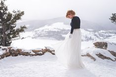 Not every bride wants to wear white top to bottom - and I absolutely LOVE when they don't!! | Winter Elopement In Breckenridge, Colorado | Keeping Composure Photography