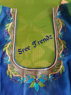 B Aari Embroidery, Hand Work Embroidery, Simple Embroidery, Machine Embroidery Designs, Mirror Work Blouse, Simple Blouse Designs, Designer Blouse Patterns, Blouse Models, Blouse Neck Designs