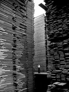 A man standing in the lumberyard of Seattle Cedar Lumber Manufacturing. Seattle, 1939, by Alfred Eisenstaedt.