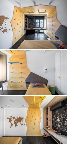This modern kids bedroom has a custom climbing feature that wraps from one side ., This modern kids bedroom has a custom climbing feature that wraps from one side of the room to the other, and separates the sleeping area from a desk . Modern Kids Bedroom, Kids Bedroom Furniture, Trendy Bedroom, Bedroom Decor, Furniture Ideas, Furniture Repair, Baby Bedroom, Decor Room, Bedroom Wall