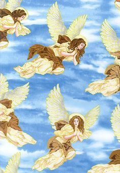 Angel In The Sky - Someone To Watch Over Me; #fabric, #angels, #quilting