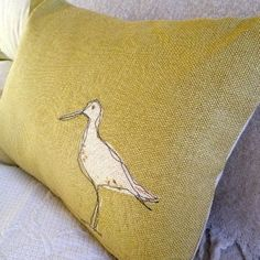 sewing - applique and thread sketching - hand printed and stitched soft gold wading bird... - Folksy