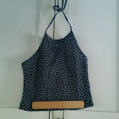 Brandy Melville navy blue floral sachi halter In perfect condition, super cute and perfect for summer! Brandy Melville Tops Tank Tops