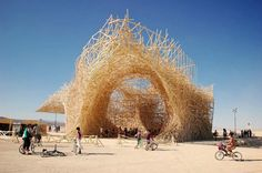 A sculpture by Arne Quinze and Uchronia at Burning Man Festival.