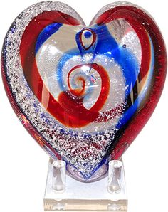 Celebration Ashes Heart (Blue/Red -Patriotic) Cremation Ash Glass Memorials www.celebrationashes.com