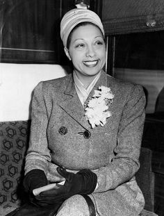 Josephine Baker at St. Louis Union Station on Feb. 3, 1948, on a train bound for New York. She refused to perform in St. Louis until 1952 because she wouldn't play before racially segregated audiences.
