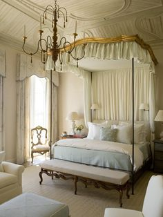 One of my faves, love the bed the scale, colors and window treatment, Traditional Home   via the enchanted home