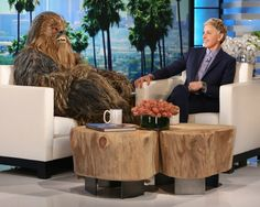 Chewbacca made a big appearance on 'The Ellen DeGeneres Show' today! Chewbacca and his good friend Harrison Ford, a. Han Solo, appeared on The Ellen DeGeneres Show today. Chewbacca Mom, Peter Mayhew, World Wide News, Ellen Degeneres Show, John Boyega, The Ellen Show, Mark Hamill, Harrison Ford, Carrie Fisher