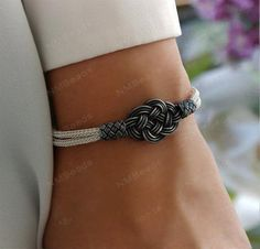 Fine Silver Celtic Double Love Knot Bangle Bracelet Oxidized Silver Nautical Woven Chain OOAK Infinity Jewelry Kazaziye Forever Gift For Her - Schmuck Celtic Knot Jewelry, Infinity Jewelry, Jewelry Knots, Wire Jewelry, Unique Jewelry, Jewelry Rings, Bangle Bracelets, Bangles, Beautiful Necklaces