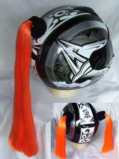 BLACK  HELMET PIGTAILS or PONY TAIL ..MOTORCYCLE,SKATEBOARD BIKE or ATV