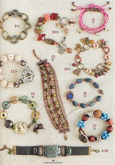 MarketPlace Bracelet (top middle, #10) by Toni McCarthy:  Stringing Fall 2012