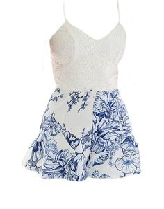 Buy Chicloth Fresh Crochet Lace Floral Print Adjustable Strap Zipper Back White Rompers,Cheap Womens Casual Pants,Cheap Jumpsuits and Rompers. Floral Print Design, Floral Prints, White Romper, Fashion Today, Summer Wear, Jumpsuits For Women, Crochet Lace, Pants For Women, Rompers