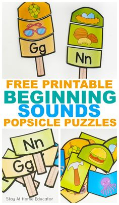 A Colorful and Engaging Preschool Summer Activity! Teach your preschooler beginning sounds this summer with these free printable popsicle puzzles Summer Preschool Activities, Pre K Activities, Preschool Literacy, Preschool Lessons, Kindergarten, Letter Sound Activities, Alphabet Activities, Preschool Alphabet, Alphabet Crafts