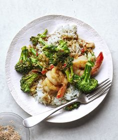 Shrimp and Broccolini Stir-Fry With Sesame Rice   undefined