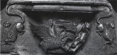 gastrocephalic dragon (head and neck damaged/sheared off) pursues putto -- misericord in parish church, Throwley, Kent, carved -- motif derIves from [ABBREVIATED VERSION OF] Parisian metal-cut ornament -- SEE NEXT Dragon Head, Book Of Hours, Head And Neck, Parisian, Ornament, Carving, English, Statue, Printed