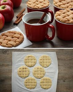"""I love the idea of using left over pie crusts as a cute little """"lid"""" for a cup of hot cider. Yummy!"""