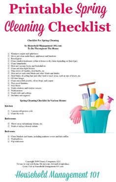 What needs to be done for spring cleaning? Here's a printable spring cleaning…