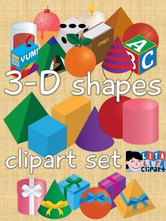 3-D shapes clip art set. Lines images included! $