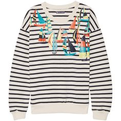 Petit Bateau Printed cotton sweatshirt ($88) ❤ liked on Polyvore featuring tops, hoodies, sweatshirts, sweatshirt, navy, loose fitting tops, cotton sweatshirt, navy blue tops, navy sweatshirt hoodies and petit bateau